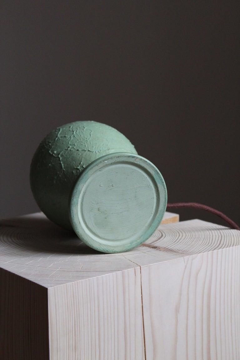 Swedish, Table Lamp, Green-Glazed Ceramic, Brass, Linen, Sweden, 1930s For Sale 1