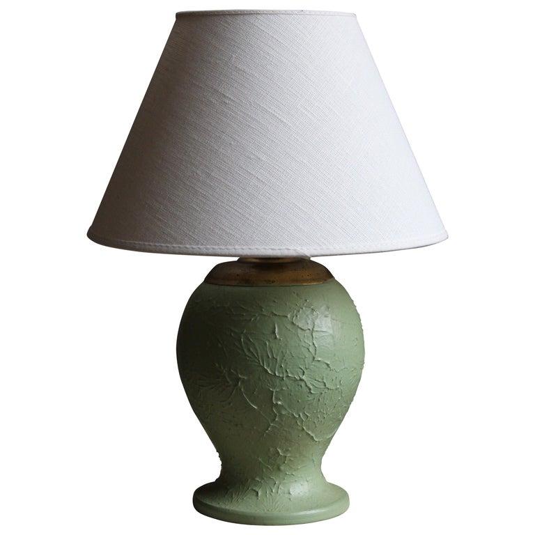 Swedish, Table Lamp, Green-Glazed Ceramic, Brass, Linen, Sweden, 1930s For Sale