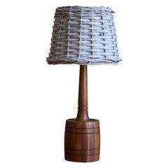 Swedish, Table Lamp, Rosewood, Rattan, Sweden, C. 1960s
