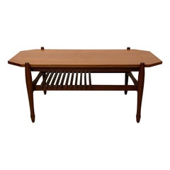 Swedish Teak Coffee Table with Magazine Rack, 1950s