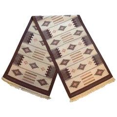 Swedish Textile Designer, Long Handwoven RÖLLAKAN Carpet with Geometric Fields