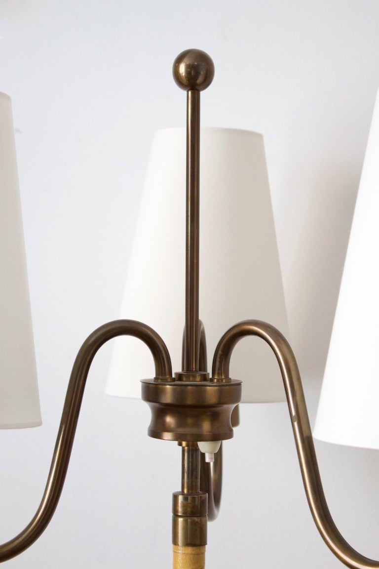 Swedish, Three-Armed Floor Lamp, Brass, Leather, Oak, Fabric, Sweden, 1940s In Good Condition For Sale In West Palm Beach, FL