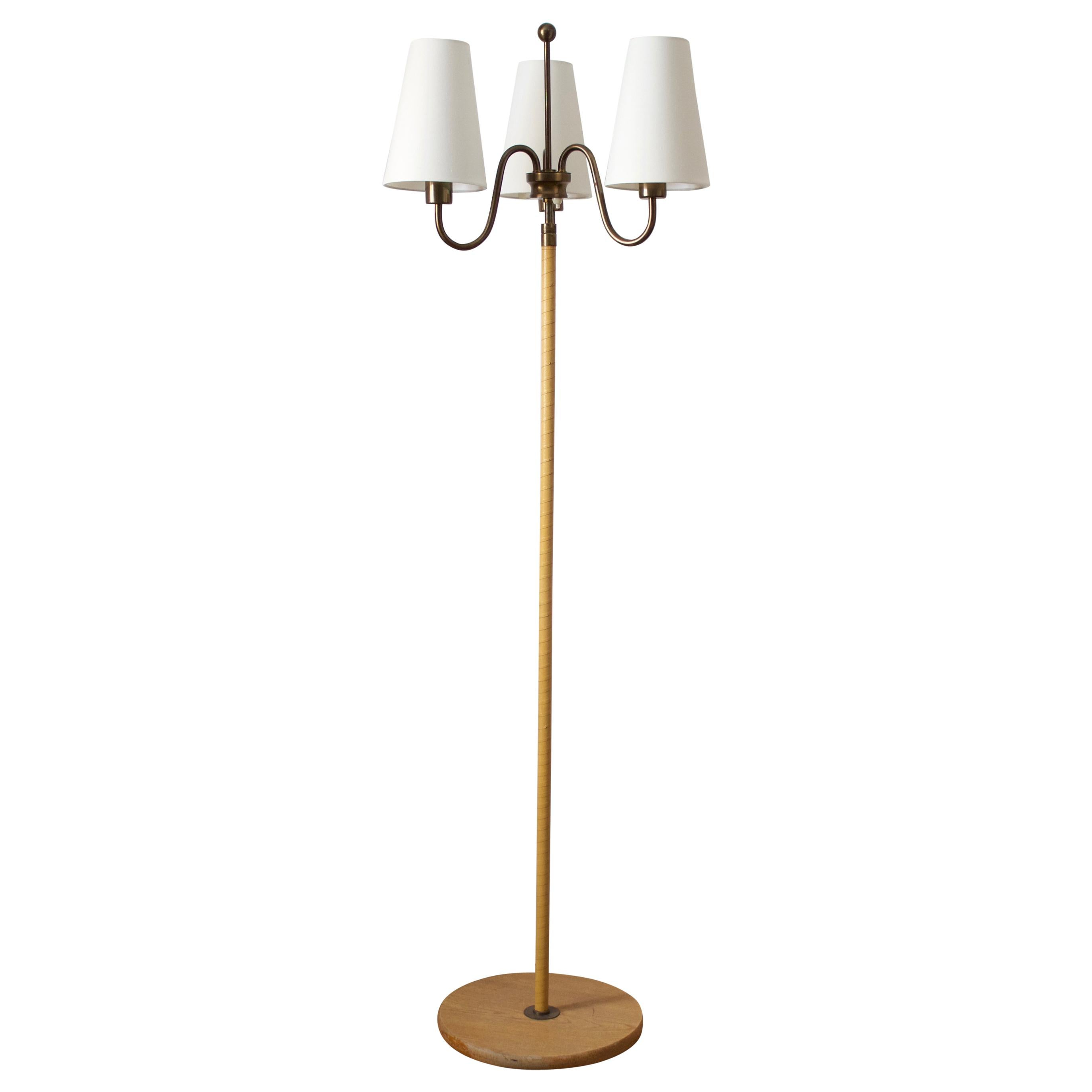 Swedish, Three-Armed Floor Lamp, Brass, Leather, Oak, Fabric, Sweden, 1940s