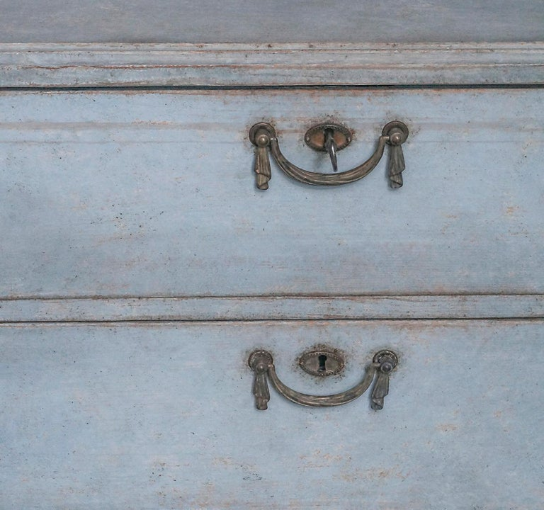Wood Swedish Three-Drawer Commode in Blue Paint For Sale