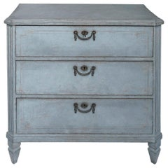 Swedish Three-Drawer Commode in Blue Paint