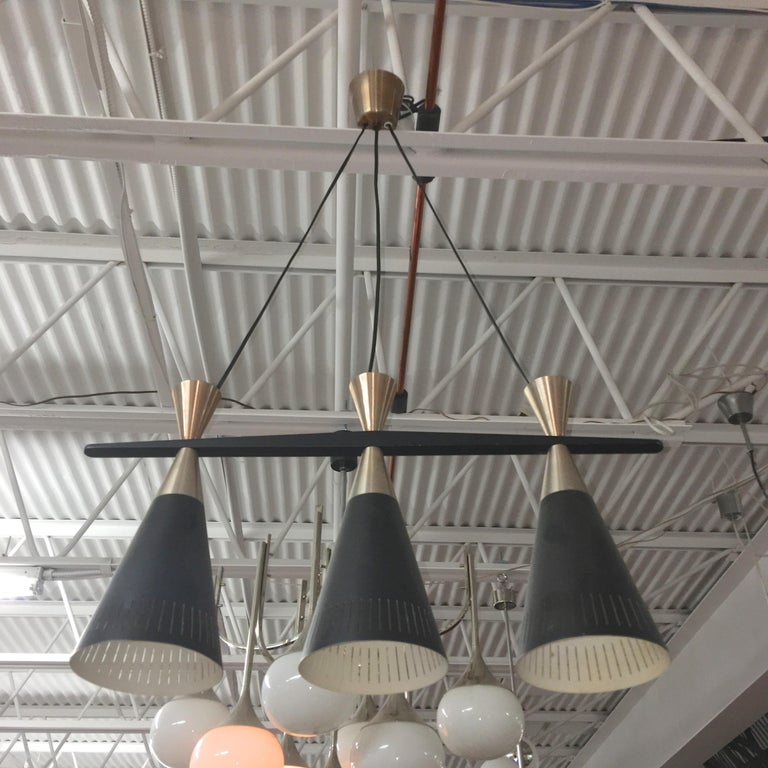 Pair of Swedish Tri-Cone Linear Pendant Lamps For Sale 2