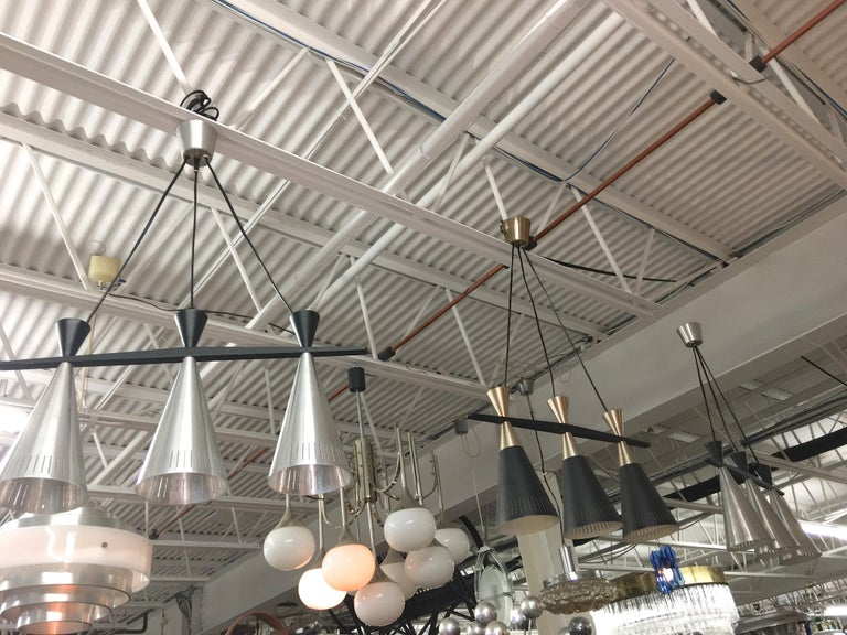 Pair of Swedish Tri-Cone Linear Pendant Lamps For Sale 3