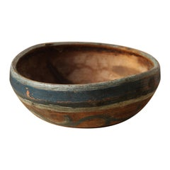 Swedish, Unique Small Organic Bowl, Painted Wood, Sweden, 19th Century