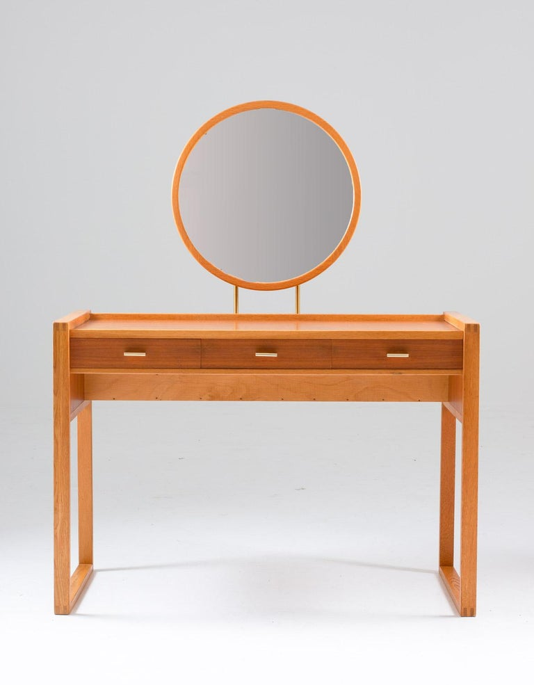 Mid-Century Modern Swedish Vanity Table in Teak, Oak, and Brass by AB Nybrofabriken For Sale