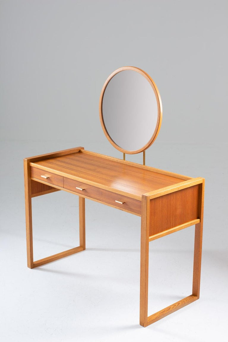 20th Century Swedish Vanity Table in Teak, Oak, and Brass by AB Nybrofabriken For Sale