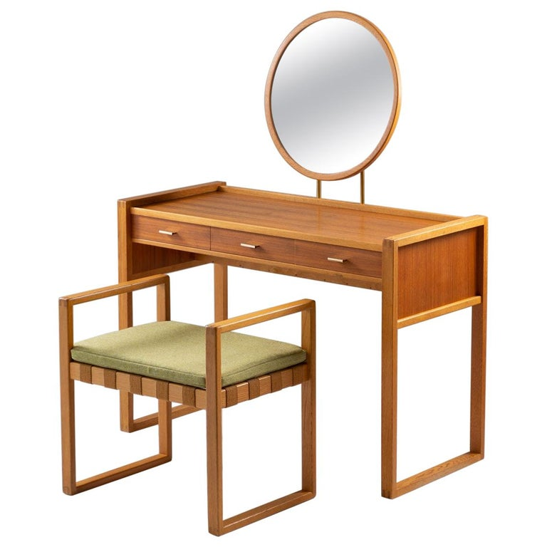 Swedish Vanity Table in Teak, Oak, and Brass by AB Nybrofabriken For Sale