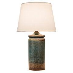 Swedish Variegated Blue Glazed Stoneware Studio Lamp