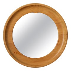 Swedish, Very small Wall Mirror, Solid Pine, Mirror Glass, Leather Sweden, 1960s