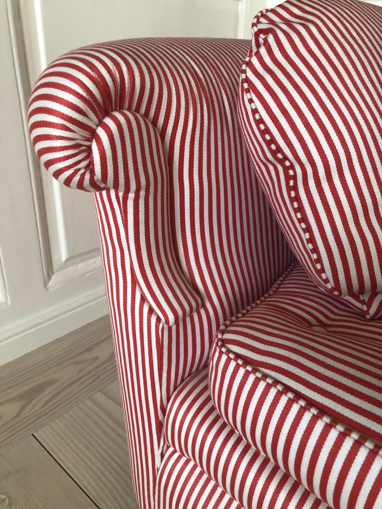 Mid-20th Century Swedish Vintage 1930s Josef Frank Daybed In Red And White Striped Textile For Sale