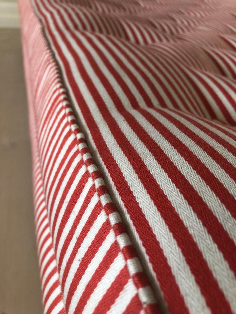Swedish Vintage 1930s Josef Frank Daybed In Red And White Striped Textile For Sale 2
