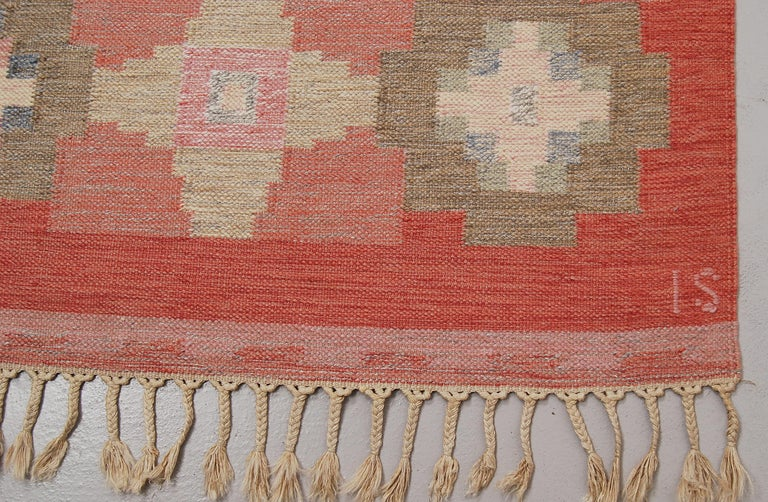 Swedish Vintage Flat-Weave Rölakan Kelim Carpet by Ingegerd Silow In Good Condition For Sale In Stockholm, SE