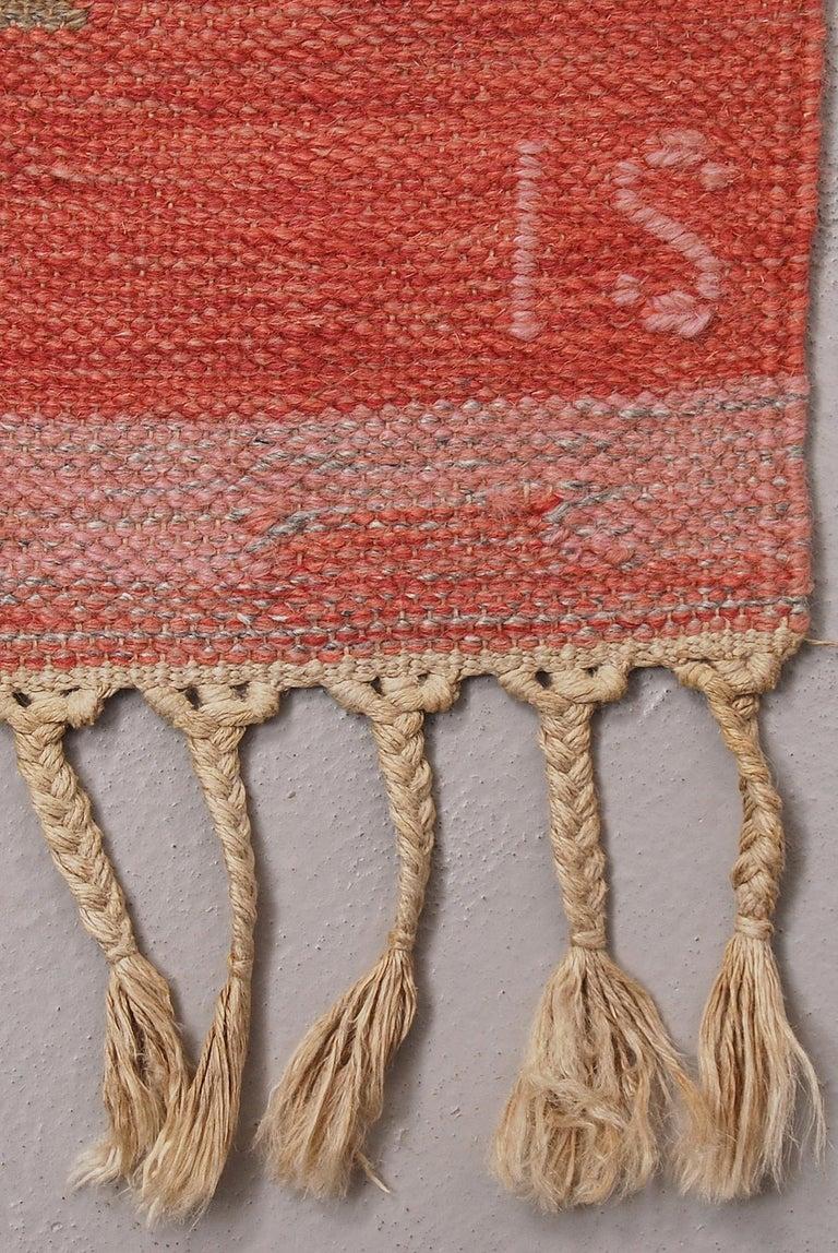 20th Century Swedish Vintage Flat-Weave Rölakan Kelim Carpet by Ingegerd Silow For Sale