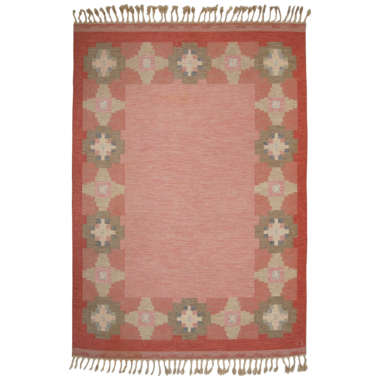 Swedish Vintage Flat-Weave Rölakan Kelim Carpet by Ingegerd Silow