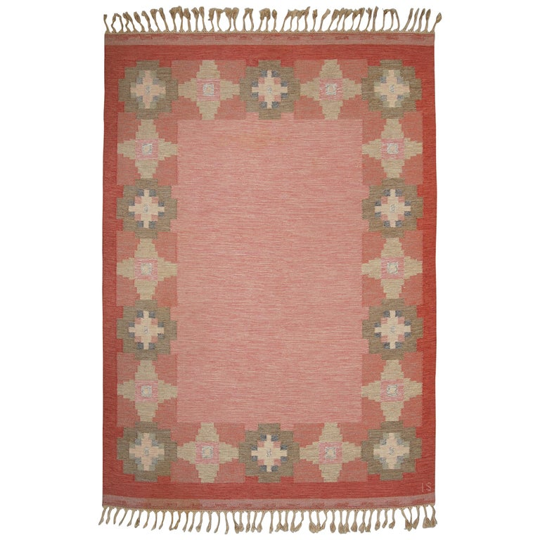 Swedish Vintage Flat-Weave Rölakan Kelim Carpet by Ingegerd Silow For Sale
