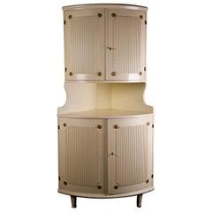 Swedish Vintage Gustavian Ribbed Corner Cabinet Rosette Storage Mid-20th Century