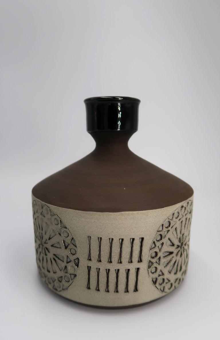 Swedish Vintage Handmade Raw, Black, Sand Vase/Candlestick by Alingsås, 1960s In Good Condition For Sale In Copenhagen, DK