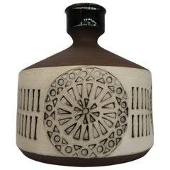 Swedish Vintage Handmade Raw, Black, Sand Vase/Candlestick by Alingsås, 1960s