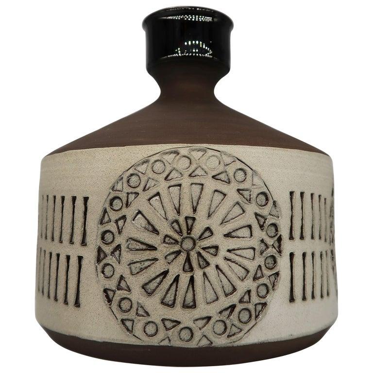 Swedish Vintage Handmade Raw, Black, Sand Vase/Candlestick by Alingsås, 1960s For Sale