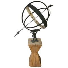 Swedish Vintage Large Metal Armillary Sundial