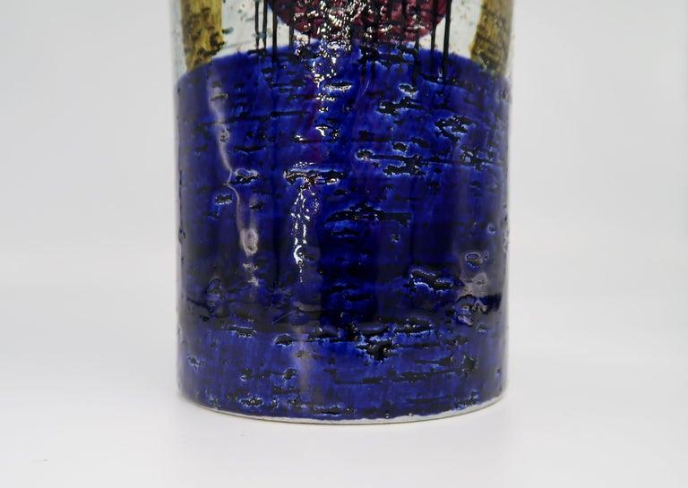 Swedish Vintage Rörstrand Ceramic Blue, Grey Vase by Olle Alberius, 1960s For Sale 1