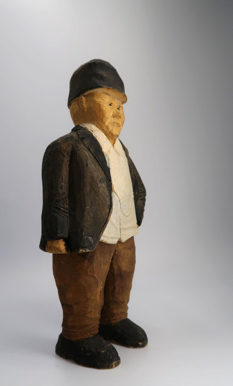 Late 20th Century Swedish Vintage Sculpture Hand Carved Wooden Older Man Figurine, 1973 For Sale