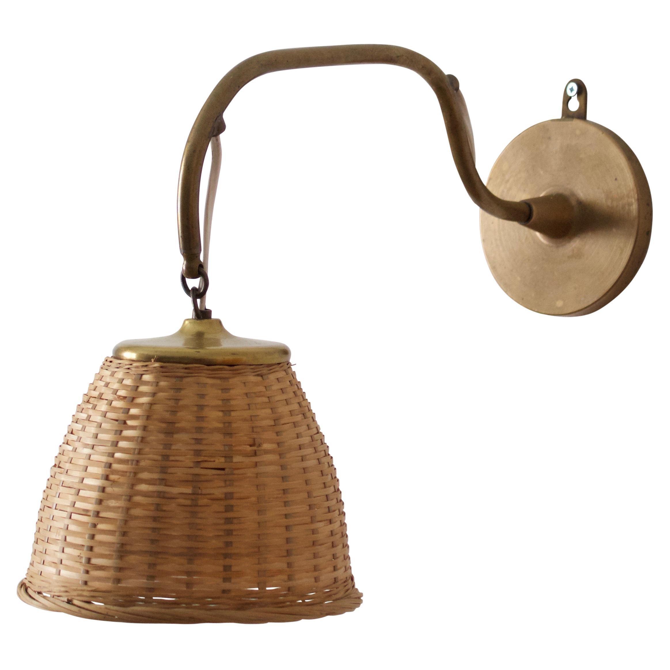 Swedish, Wall Light, Brass, Rattan, Sweden, 1922