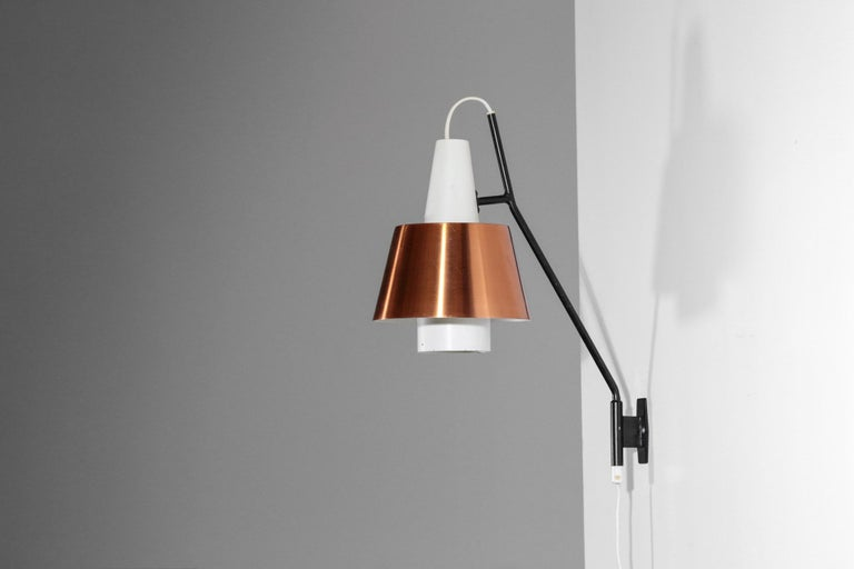 Swedish Wall Light for Luco Vintage Copper For Sale 4