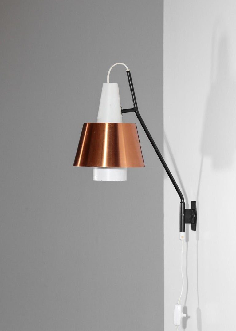 Mid-20th Century Swedish Wall Light for Luco Vintage Copper For Sale