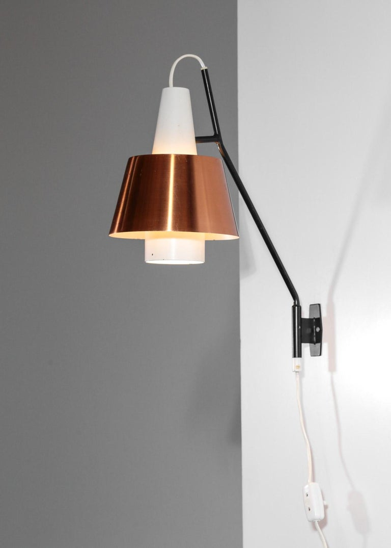 Metal Swedish Wall Light for Luco Vintage Copper For Sale