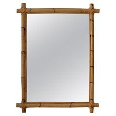 Swedish, Wall Mirror, Bamboo, Cane, Mirror Glass, Sweden, 1960s