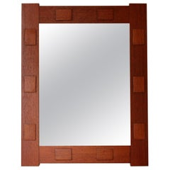 Swedish, Wall Mirror, Solid Teak, Glass, Sweden, 1960s