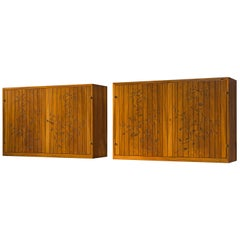 Swedish Wall-Mounted Cabinets in Walnut with Floral Carving