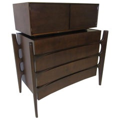 Swedish Walnut Midcentury 2-Piece Dresser /Chest by William Hinn