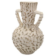 Swedish White Gold Floor Vase Urn in Stoneware Ceramic Produced in the 1940s