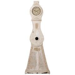 Swedish White Neoclassical Long Case Clock