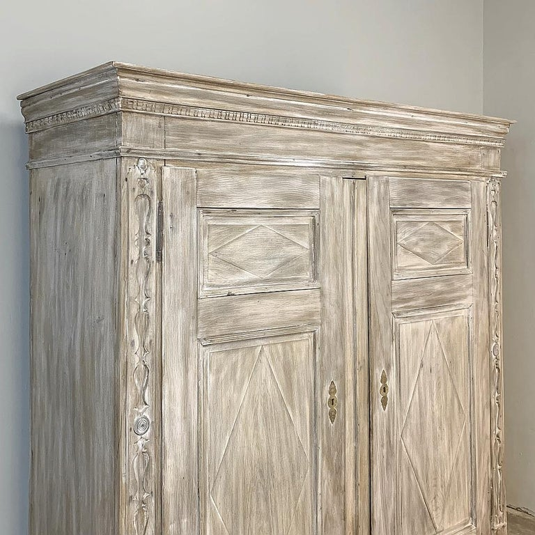 Gustavian Swedish Whitewashed Armoire, 19th Century For Sale