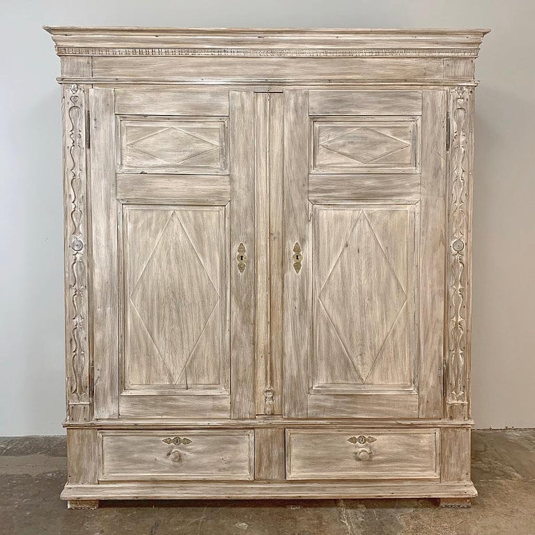 Hand-Crafted Swedish Whitewashed Armoire, 19th Century For Sale