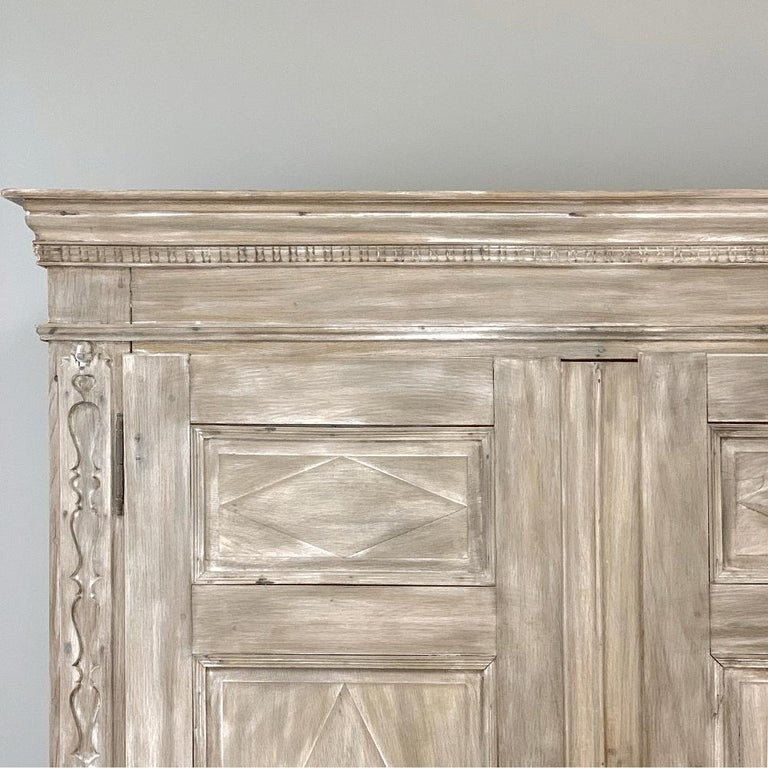 Swedish Whitewashed Armoire, 19th Century In Good Condition For Sale In Dallas, TX