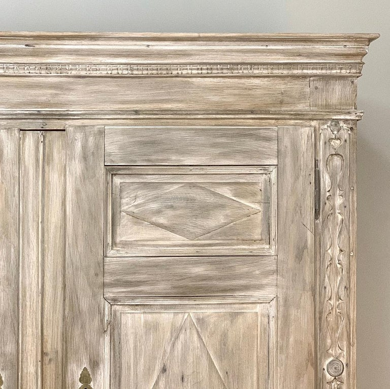 Oak Swedish Whitewashed Armoire, 19th Century For Sale