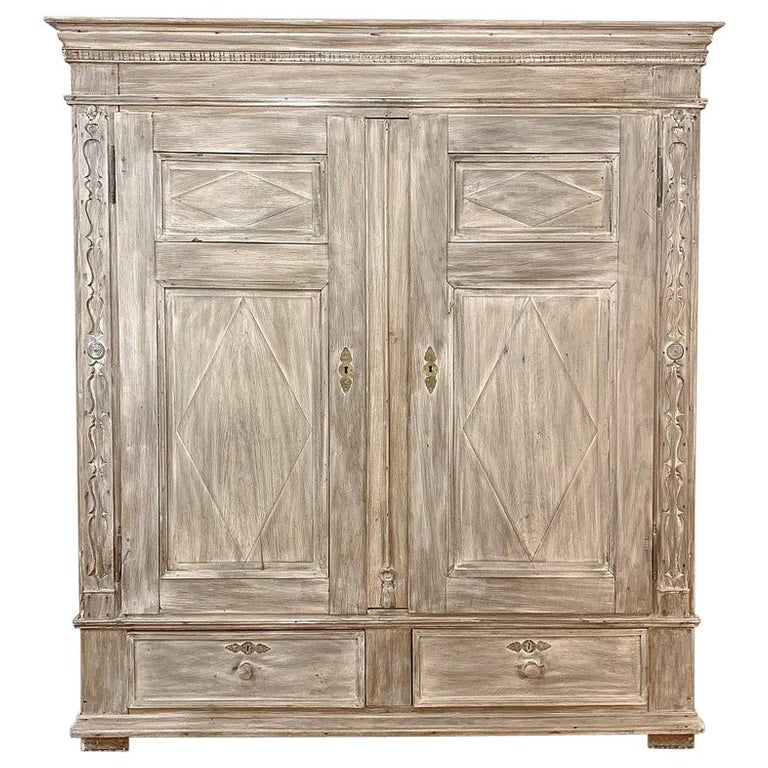Swedish Whitewashed Armoire, 19th Century For Sale