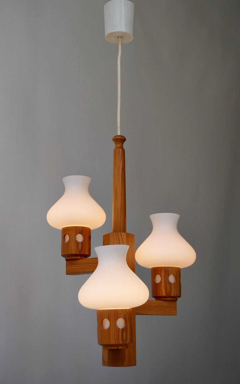 Mid-Century Modern Swedish Wood and Opaline Chandelier For Sale