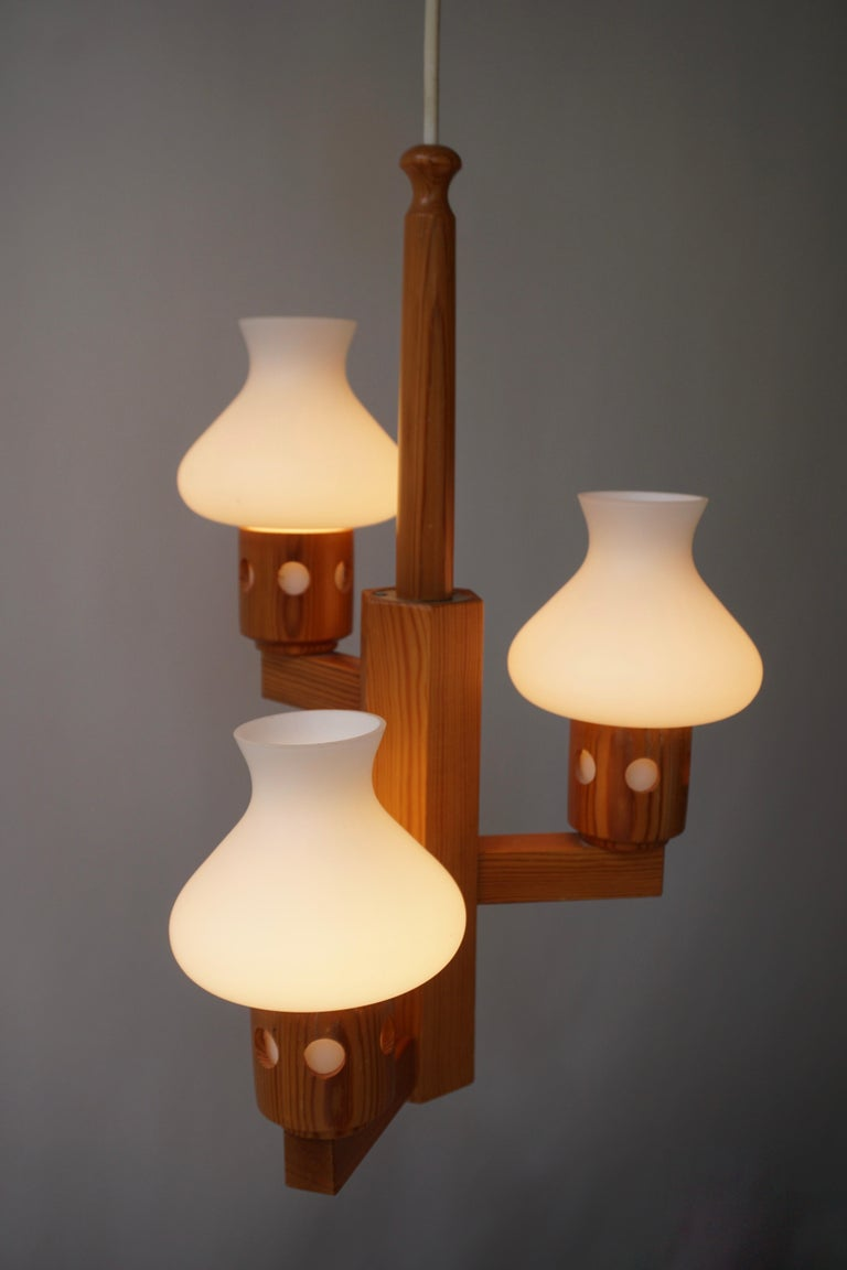 20th Century Swedish Wood and Opaline Chandelier For Sale