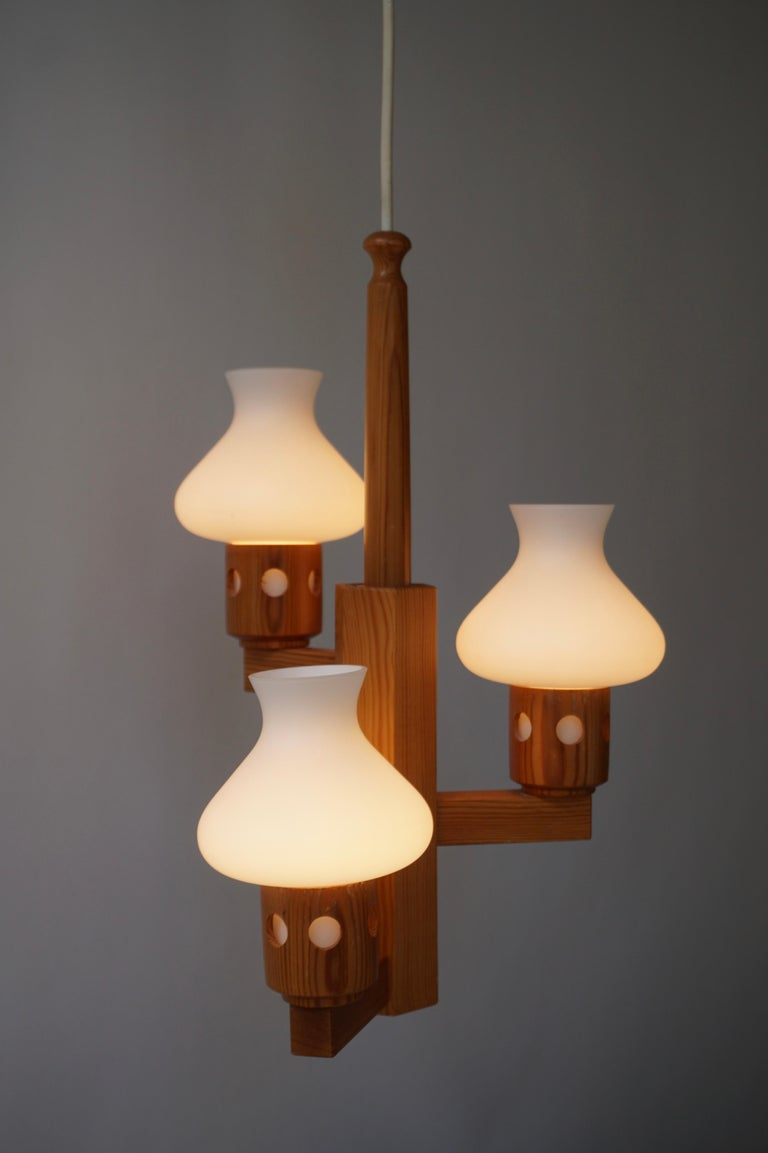 Opaline Glass Swedish Wood and Opaline Chandelier For Sale