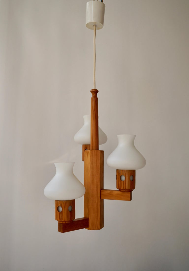 Swedish Wood and Opaline Chandelier For Sale 1
