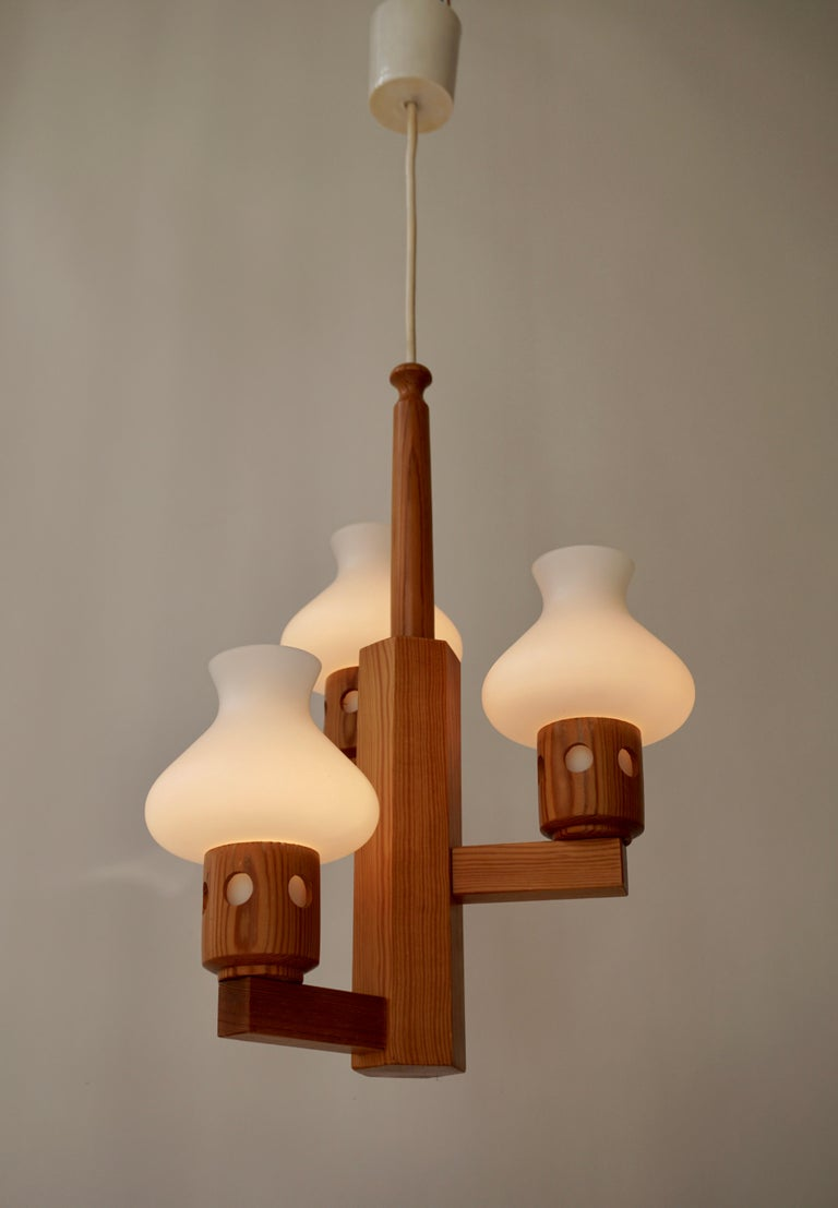 Swedish Wood and Opaline Chandelier For Sale 2